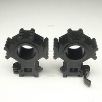 2x Heavy Duty 25.4mm/30mm Ring Tri-Rail Torch 20mm Weaver Mounts Lever Rail QD