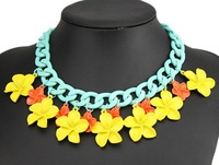 2014 lover's favourite gift,fashion flower chocker necklace with different colors,best jewelry for the hot and dry summer XLL360
