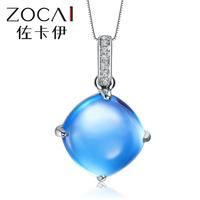 ZOCAI 2014 New Arrival THE BLUE SECRET 7.0 CT natural genuine blue topaz 18K white gold pendant + 925 silver chain
