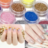 18 Colors Nail Art Glitter Powder Dust For UV GEL Acrylic Powder Decoration Tips Nail Art UV Gel 3D Decor Tips Kit