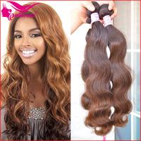 "virgin hair, Body wave,12""-30"",brown hair(#2,#4), virgin brazilian hair, easy to dye,free shipping,full end,30 days gurantee"