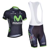 New 2014 Movistar Short Sleeve Cycling Jersey / Cycling Bib Shorts / Cycling Shorts Men Summer Cycling Clothing Free Shipping