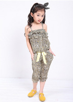 2014 Summer Girls Cotton Silk Two-Piece Large Floral Top + Pant Suits b