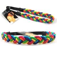 Fashion Rainbow Twist Elastic HEADBAND Hair Band Head Wrap Women. 10 pc/lot, Wholesale