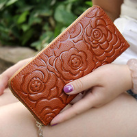 Retro Vintage Wallet Women Genuine Leather Wallets Flower Wallet Long Zipper Cell Phone Purse Ladies Female Leather Purses 1123