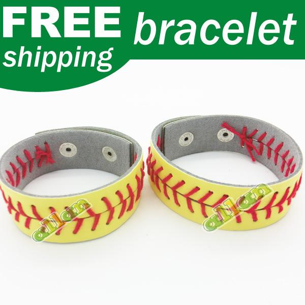 Wholesale High quality bright white leather baseball softball red stitching seam real leather bracelet(China (Mainland))