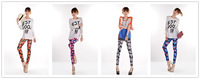 Free Shipping New Arrived Fashion Flower Print  Candy Color High Elasticity Sexy Leggings For Women LSK-15