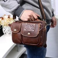 Vintage Brand genuine leather men bags Multifunction casual waist packs High Grade Natural Cowhide men messenger bags