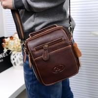 New 2014 High Quality genuine leather Men Messenger Bags Casual Multifunction Men Travel Bags Vintage Cowskin Shoulder Handbags