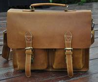 Crazy horse genuine leather men briefcase shoulder bag men business European style men messenger
