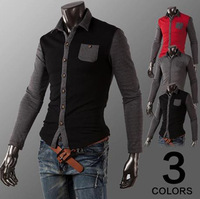 dropshiping Men's Casual Upscale mixed colors Slim Long Sleeved Personalized Shirts 3Colors M-XXL  ZL666