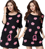 3XL~5XL!! New 2014 Summer Women Fashion Plus Size Floral Print Short-sleeve Drawstring Sport Casual Cotton Brand Sexy Dresses