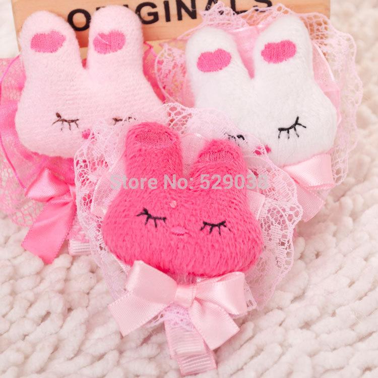 Pet hairpin pet headdress Korean bow stuffed bunny dog hair accessories hairpin 20pcs/lot(China (Mainland))