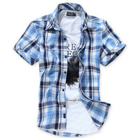 2014 new style 3 Colors Men's casual Cotton short sleeve Shirts high quality Summer Slim Fit Lattice Shirs  M-XXXL  ZL504