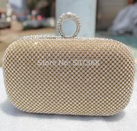 Fine Work Diamond Finger Ring Clutch Handbag Women's Bling Rhinestone Evening Bags Party Bag Shoulder Bag Silver Gold Black