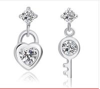 new 2014 women sterling silver earrings love cute heart earrings cubic zirconia key earrings jewelry free shipping