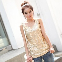 new 2014 women blouse summer fashion sexy Slim sequined vest blouse shirt  plus size women clothing 23958