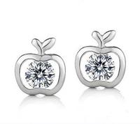 new 2014 women sterling silver earrings love cute APPLE earrings cubic zirconia earrings jewelry free shipping