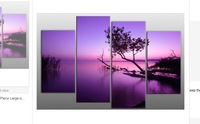 Hot Sell Free Shipping 4Piece Large-scale Purple Landscape Sunset Modern Hand Painted Home Wall Decor Art Oil Painting on Canvas