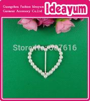 Beautiful Inner Dia 30mm Heart  Pearl Rhinestone Buckle For Invitation Card  Free Shipping