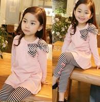 Free shipping trade bows, stripes pants pink shirt  children's clothing TZ26A09