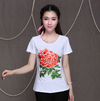 Fashion 2014 cotton shirts women's white tops o neck summer t shirt slim casual clothes national trend embroidery WFS785