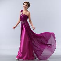 The bride married long design formal dress elegant one shoulder purple evening dress banquet evening dress 8