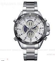 LED Digital Date Day Red Men Stainless Steel Sport Quartz Watch