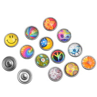 Free Shipping! 10PCs Glass Snap Button For Snap Button Bracelet Multicolor Mixed B33292