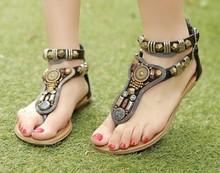 NEW 2014 Summer rome Vintage flip flops fashion women flat sandals shoes women slippers Zip 34-40 J3265(China (Mainland))