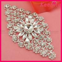 Large Crystal Rhinestone Bridal Applique Patch Flower Applique WRE-117