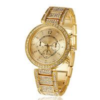 women dress watches geneva stainless steel crystal quartz watch brand luxury golden female clock relogio feminino fashion montre