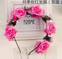 5pcs/lot Flower Crown, Head Wreath, Big Flower, Hair, Garland, Halo, double layers flowers HA0400