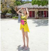 Wholesale, Japan and South Korea yellow flame red lip is irregular skirt beach dress
