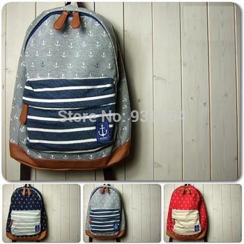 2014 Темно синий Стиль Хлопок Материал Backpacks Leisure Student School bag Travel ...