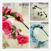 2pcs/lot Head Wreath Flower Crown Weddings Bride Flower Girl Hair Accessories headbands for women HA0400