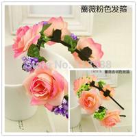 2pcs/lot New Arrival Bridal Wedding Hand Made Rose Flower Headband Hair Band Garland Hair Wreaths HA0400
