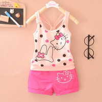 New 2014 Hello Kitty Baby Girls' Vest and Shorts Clothing Sets Children 2 pcs Sets Girls' Dotty Fashion Suits For Summer