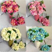 10pcs/lot 10 Colors! New Hydrangea Bouquet Artificial Silk Flowers Wedding Home Decorative Flowers Shoes Hair Hat Flowers