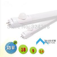 Free shipping 5pcs 14W T8 led sensor tube Human sensor led tube 1400lm 85-265v led tube 900mm Body IR induction sensor light
