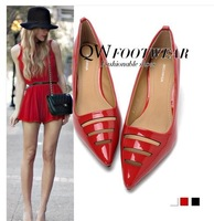 women shoes Women's high-heeled shoes pointed toe cutout female leather red wedding shoes Women's high-heeled sandals hollow out