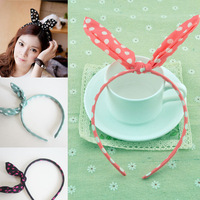 Candy Chiffon Rabbit Ear Headbands Hair Bands Woman Girls Funny Ornament Accessories Headwear  1404HE010
