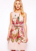 2014 summer new women girl fashion chiffon print a-line casual dress sleeveless knee length o neck brand plus size dresses sale
