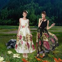 2014 women's o-neck chiffon bohemia dress mopping the floor full print one-piece dress