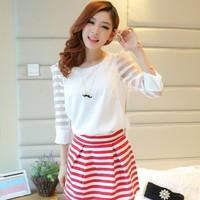 Summer plus size clothing patchwork fashionable casual organza chiffon shirt short-sleeve top basic shirt