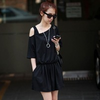 Trend Knitting 2014 Summer New fashion Women's jumpsuits Casual Dew shoulder sexy Slim Hot pants Size M-3XL Black,Grey