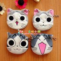free shipping 100pcs wholesale Cheese cat plush coin purse cartoon coin purse card holder key wallet coin case