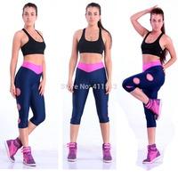 2014 New Designer Hole V Waist Gymnastics Pants Women Gym Clothes Black Jogger Pants Causal Sports Capris Stretched Yoga Pants