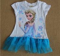 2014 New Frozen Girls Dress Kids Summer Tee shirt Dress Elsa's style top Dresses 100cotton Child Hot sale In stock 1Lot=6pcs
