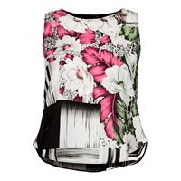 Women Blouse 3D Squares Print Sleeveless Perspective Patchwork Plaid Flower Chiffon Shirt Tops Plus Size Summer TeesTank Vest